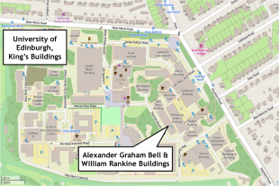 Map of King's Buildings, showing location of AGB and WR