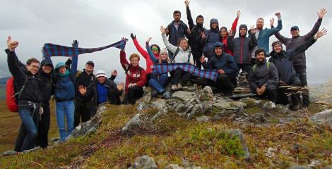 Staff and students from the BRE Centre for Fire Safety Engineering gathered atop a mountain